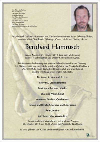 Die Feuerwehr Kirchbach trauert um Kamerad Bernhard Hamrusch